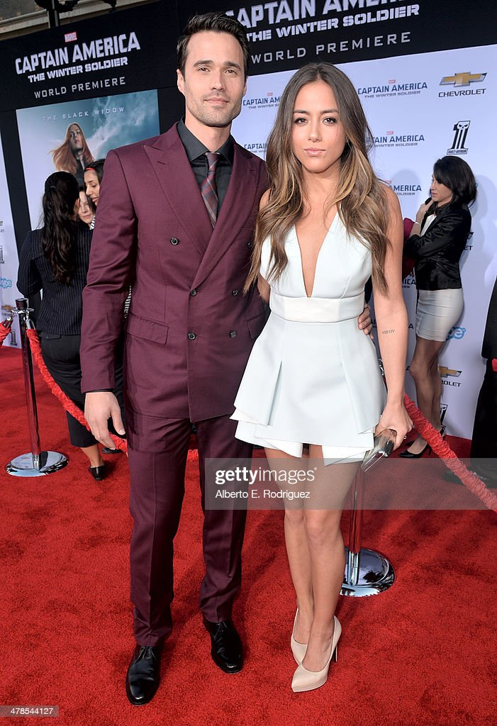 Actors Brett Dalton and Chloe Bennet attend Marvel's 'Captain America: The Winter Soldier' premiere at the El Capitan Theatre on March 13, 2014 in Hollywood, California.