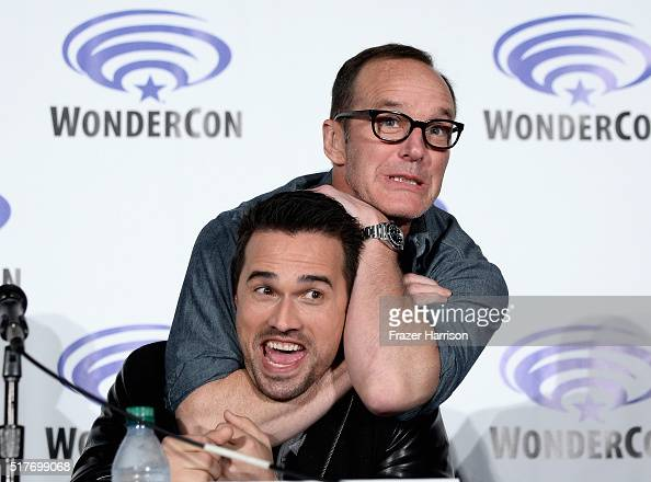Actors Brett Dalton and Clark Gregg attend Marvel's Agents of SHI ELD panel at WonderCon 2016 Day 2 at Los Angeles Convention Center on March 26 2016...