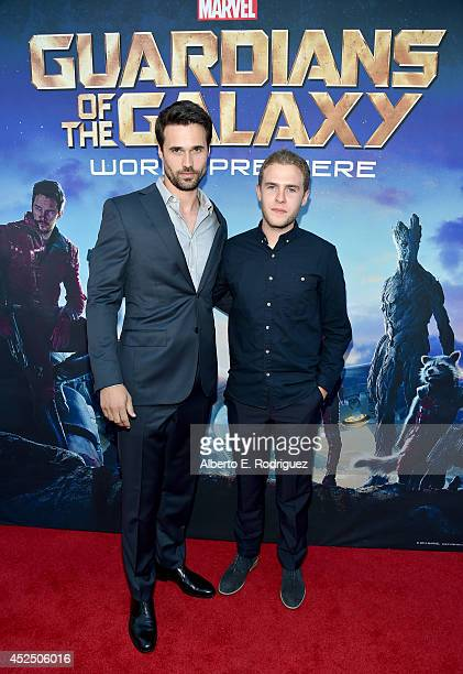 "Actors Brett Dalton and Iain De Caestecker attend The World Premiere of Marvel's epic space adventure ""Guardians of the Galaxy"" directed by James..."