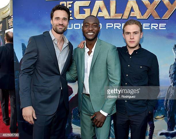 "Actors Brett Dalton BJ Britt and Iain De Caestecker attend The World Premiere of Marvel's epic space adventure ""Guardians of the Galaxy"" directed by..."