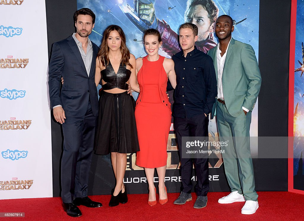 Actors <a gi-track='captionPersonalityLinkClicked' href=/galleries/search?phrase=Brett+Dalton&family=editorial&specificpeople=7074266 ng-click='$event.stopPropagation()'>Brett Dalton</a>, <a gi-track='captionPersonalityLinkClicked' href=/galleries/search?phrase=Chloe+Bennet&family=editorial&specificpeople=10116680 ng-click='$event.stopPropagation()'>Chloe Bennet</a>, <a gi-track='captionPersonalityLinkClicked' href=/galleries/search?phrase=Elizabeth+Henstridge&family=editorial&specificpeople=10926347 ng-click='$event.stopPropagation()'>Elizabeth Henstridge</a>, <a gi-track='captionPersonalityLinkClicked' href=/galleries/search?phrase=Iain+De+Caestecker&family=editorial&specificpeople=8832627 ng-click='$event.stopPropagation()'>Iain De Caestecker</a>, and B.J. Britt attend the premiere of Marvel's 'Guardians Of The Galaxy' at the Dolby Theatre on July 21, 2014 in Hollywood, California.