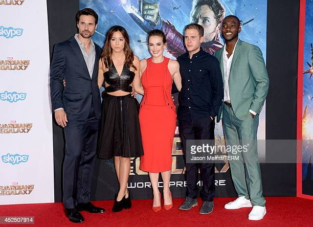 Actors Brett Dalton Chloe Bennet Elizabeth Henstridge Iain De Caestecker and BJ Britt attend the premiere of Marvel's 'Guardians Of The Galaxy' at...