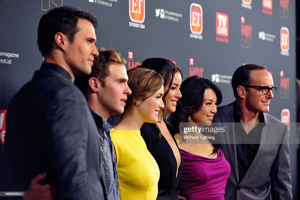 Actors Brett Dalton, Iain De Caestecker, Elizabeth Henstridge, Chloe Bennett, Ming-na Wen and <a gi-track='captionPersonalityLinkClicked' href=/galleries/search?phrase=Clark+Gregg&family=editorial&specificpeople=587275 ng-click='$event.stopPropagation()'>Clark Gregg</a> attend TV Guide Magazine's Annual Hot List Party at The Emerson Theatre on November 4, 2013 in Hollywood, California.