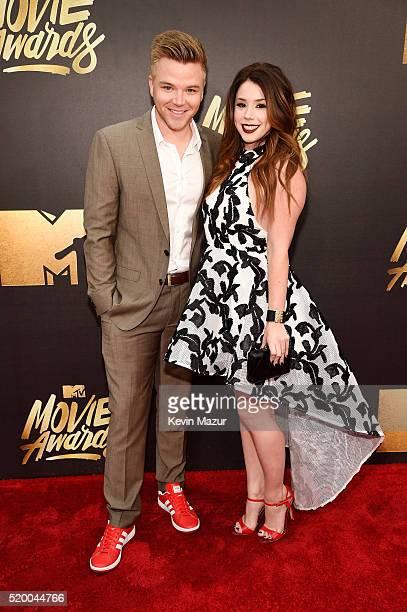 Actors Brett Davern and Jillian Rose Reed attend the 2016 MTV Movie Awards at Warner Bros Studios on April 9 2016 in Burbank California MTV Movie...