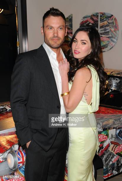 Actors Brian Austin Green and Megan Fox attend the celebration of Jaguar Design and the 50th Anniversary of the Jaguar EType at The IAC Building on...