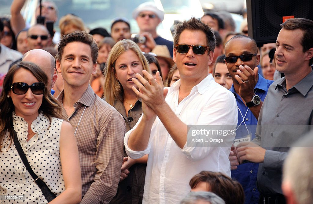 Actors Brian Dietzen, <a gi-track='captionPersonalityLinkClicked' href=/galleries/search?phrase=Michael+Weatherly&family=editorial&specificpeople=3321266 ng-click='$event.stopPropagation()'>Michael Weatherly</a>, <a gi-track='captionPersonalityLinkClicked' href=/galleries/search?phrase=Sean+Murray&family=editorial&specificpeople=3214717 ng-click='$event.stopPropagation()'>Sean Murray</a> and Rocky Carroll participate in the Mark Harmon Star Ceremony on The Hollywood Walk Of Fame on October 1, 2012 in Hollywood, California.