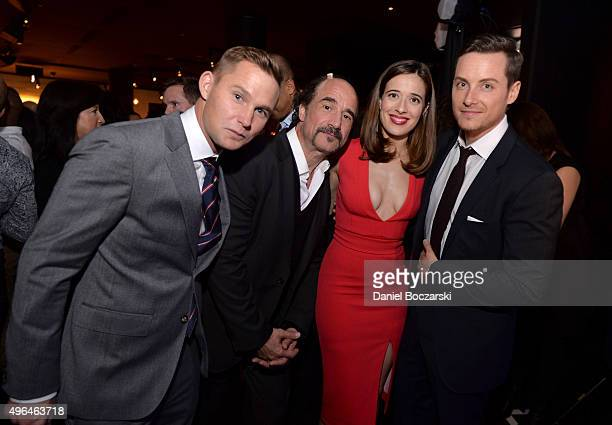Actors Brian Geraghty Elias Koteas Marina Squerciati and Jesse Lee Soffer attend a premiere party for NBC's 'Chicago Fire' 'Chicago PD' and 'Chicago...