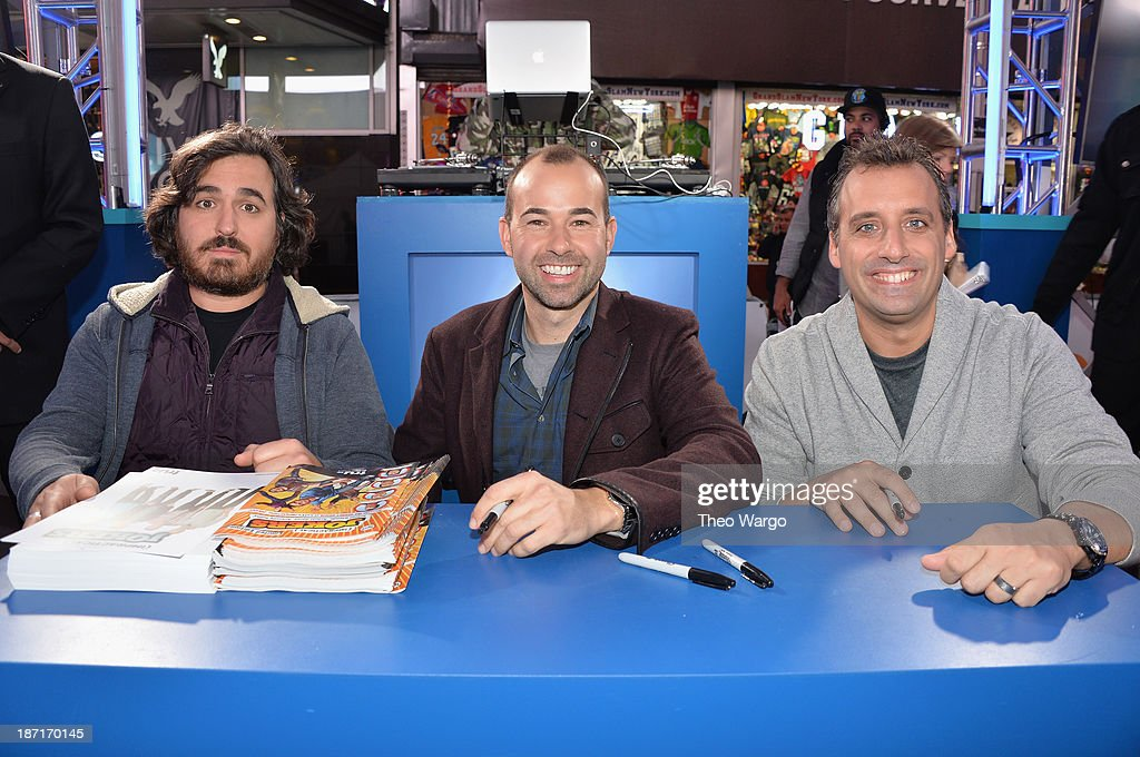 Actors <a gi-track='captionPersonalityLinkClicked' href=/galleries/search?phrase=Brian+Quinn+-+Comedian&family=editorial&specificpeople=14584863 ng-click='$event.stopPropagation()'>Brian Quinn</a>, <a gi-track='captionPersonalityLinkClicked' href=/galleries/search?phrase=James+Murray+-+Comedian&family=editorial&specificpeople=14584458 ng-click='$event.stopPropagation()'>James Murray</a>, and Joe Gatto pose at the Guinness World Records Unleashed Arena in Times Square on November 6, 2013 in New York City. (Photo by Theo Wargo/WireImage) 24244_003_TW_0278.JPG