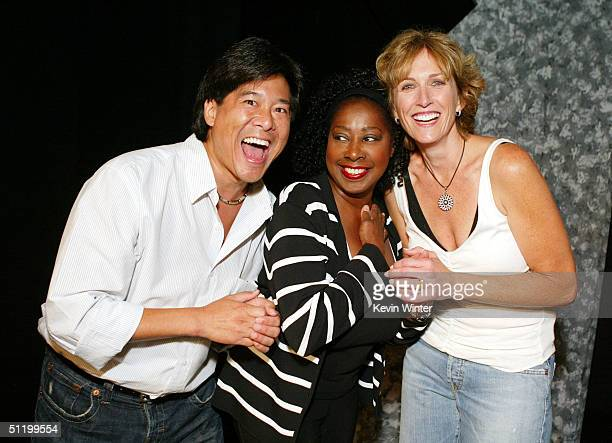 Actors Brian Tochi Marion Ramsey and Kathryn Graf pose at the world premiere of the onewoman play 'Surviving David' starring Kathryn Graf at 2100...