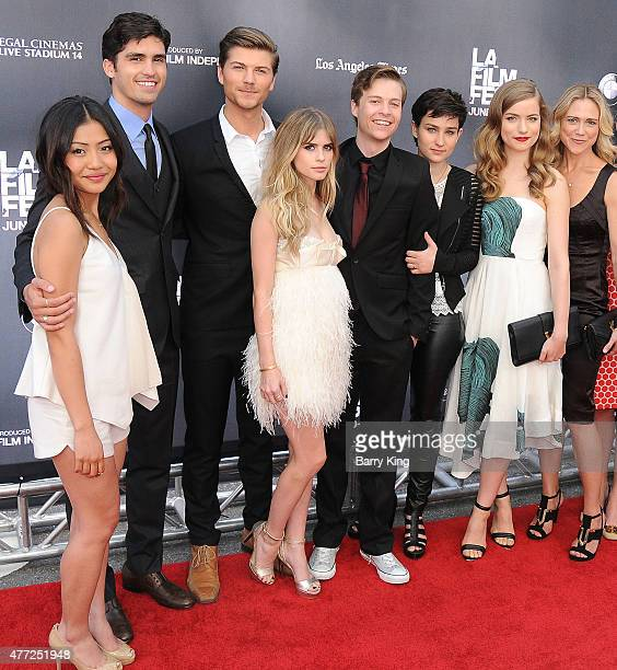 Actors Brianne Tju Tom Maden Amadeus Serafini Carlson Young John Karna Bex TaylorKlaus Willa Fitzgerald and Tracy Middendorf attend the premiere Of...