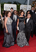 R Actors Bridgid Coulter Don Cheadle and guests attend the 72nd Annual Golden Globe Awards at The Beverly Hilton Hotel on January 11 2015 in Beverly...