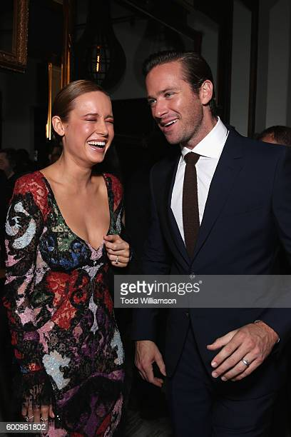 Actors Brie Larson and Armie Hammer attend the 'Free Fire' premiere screening party hosted by Bulleit at Early Mercy on September 8 2016 in Toronto...