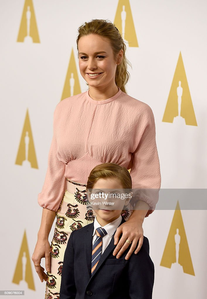 Actors Brie Larson (L) and Jacob Tremblay attend the 88th Annual Academy Awards nominee luncheon on February 8, 2016 in Beverly Hills, California.