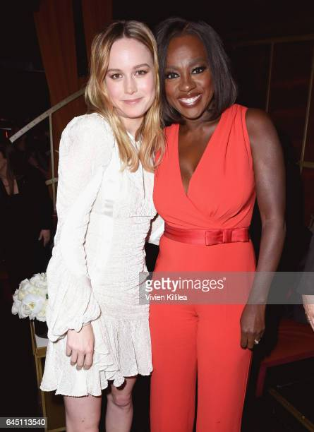 Actors Brie Larson and Viola Davis wearing Max Mara attend the tenth annual Women in Film PreOscar Cocktail Party presented by Max Mara and BMW at...
