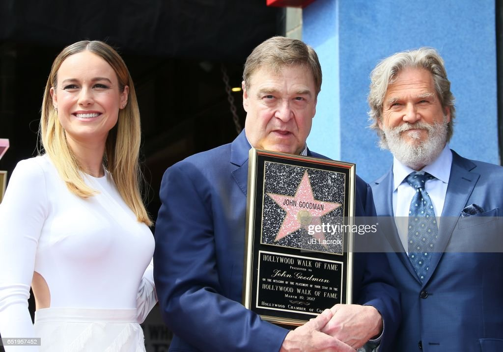 Actors Brie Larson, John Goodman and Jeff Bridges attend a ceremony honoring John Goodman with the 2,604th Star on The Hollywood Walk of Fame on March 10, 2017 in Hollywood, California.