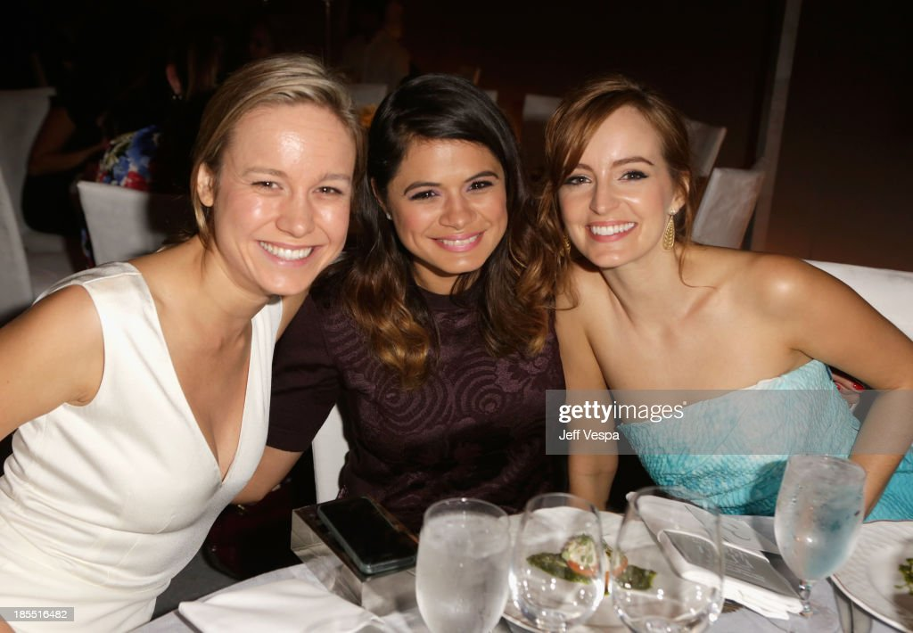 Actors Brie Larson, Melonie Diaz and Ahna O'Reilly attend ELLE's 20th Annual Women In Hollywood Celebration at Four Seasons Hotel Los Angeles at Beverly Hills on October 21, 2013 in Beverly Hills, California.