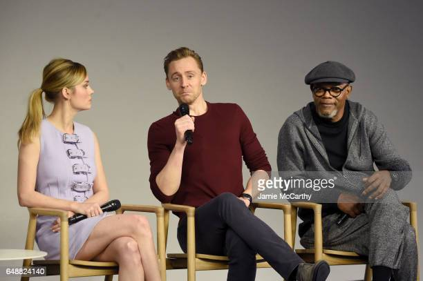 Actors Brie Larson Tom Hiddleston and Samuel L Jackson speak on a panel at the at the 'Kong Skull Island' cast presentation at Apple Store Soho on...