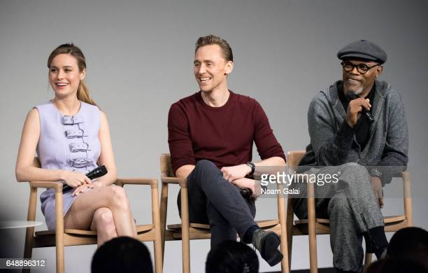 Actors Brie Larson Tom Hiddleston and Samuel L Jackson speak on a panel during the 'Kong Skull Island' cast presentation at Apple Store Soho on March...