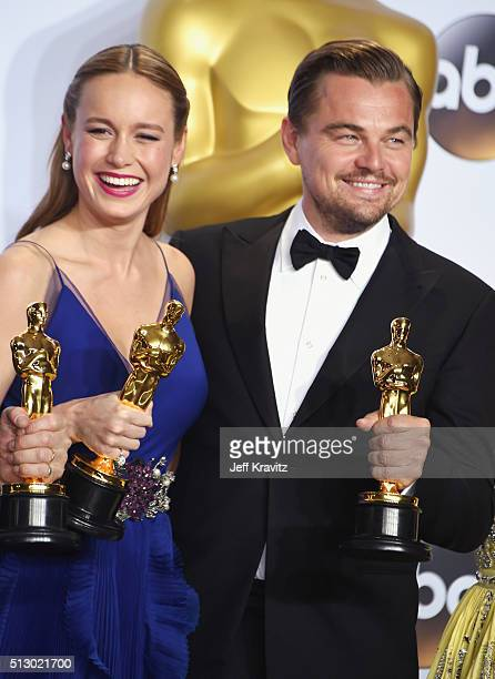 Actors Brie Larson winner of Best Actress for 'Room' and Leonardo DiCaprio winner of the award for Best Actor in a Leading Role for 'The Revenant'...