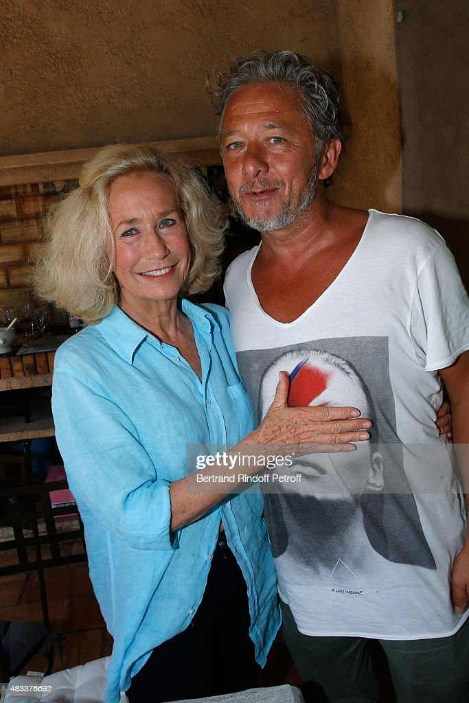 Actors Brigitte Fossey and Nicolas Briancon attend the lunch at Jacqueline Franjou's house as part of the 31th Ramatuelle Festival in Ramatuelle on...