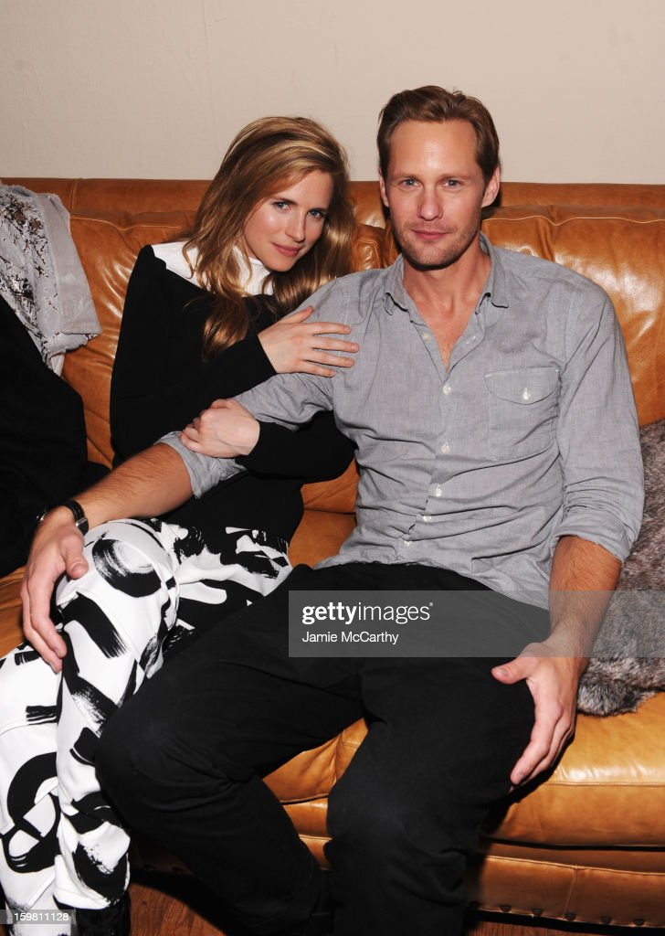Actors <a gi-track='captionPersonalityLinkClicked' href=/galleries/search?phrase=Brit+Marling&family=editorial&specificpeople=701867 ng-click='$event.stopPropagation()'>Brit Marling</a> and Alexander Skarsgard attend the Grey Goose Blue Door party for Fox Searchlight Pictures 'Stoker' and 'The East' on January 20, 2013 in Park City, Utah.