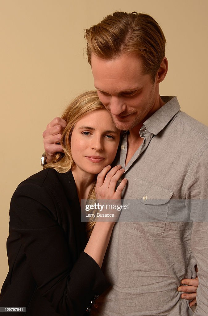 Actors <a gi-track='captionPersonalityLinkClicked' href=/galleries/search?phrase=Brit+Marling&family=editorial&specificpeople=701867 ng-click='$event.stopPropagation()'>Brit Marling</a> and Alexander Skarsgard pose for a portrait during the 2013 Sundance Film Festival at the Getty Images Portrait Studio at Village at the Lift on January 20, 2013 in Park City, Utah.