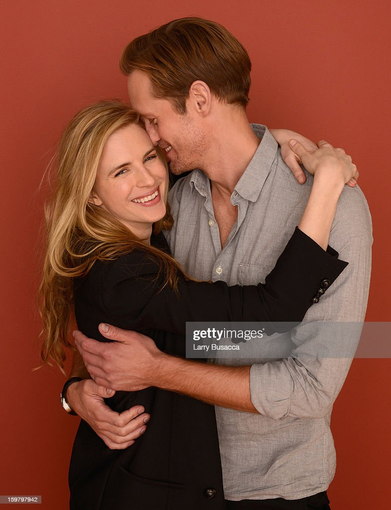 Actors <a gi-track='captionPersonalityLinkClicked' href=/galleries/search?phrase=Brit+Marling&family=editorial&specificpeople=701867 ng-click='$event.stopPropagation()'>Brit Marling</a> and <a gi-track='captionPersonalityLinkClicked' href=/galleries/search?phrase=Alexander+Skarsgard&family=editorial&specificpeople=2483508 ng-click='$event.stopPropagation()'>Alexander Skarsgard</a> pose for a portrait during the 2013 Sundance Film Festival at the Getty Images Portrait Studio at Village at the Lift on January 20, 2013 in Park City, Utah.