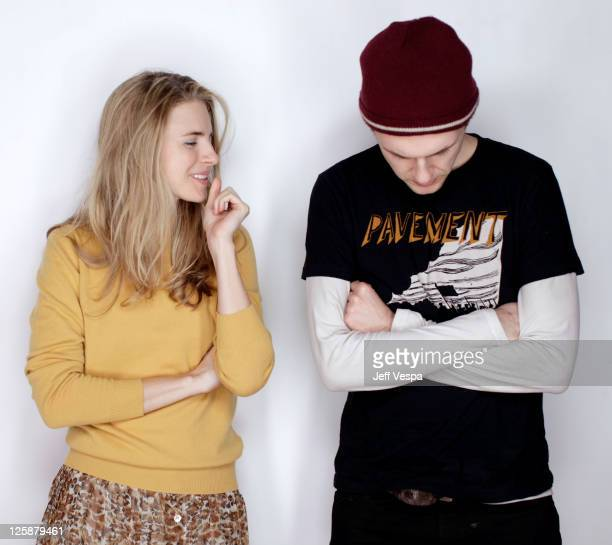 Actors Brit Marling and Christopher Denham pose for a portrait during the 2011 Sundance Film Festival at the WireImage Portrait Studio at The Samsung...