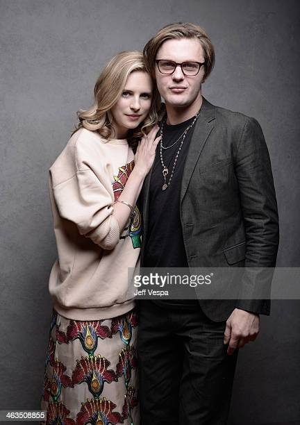 Actors Brit Marling and Michael Pitt pose for a portrait during the 2014 Sundance Film Festival at the WireImage Portrait Studio at the Village At...
