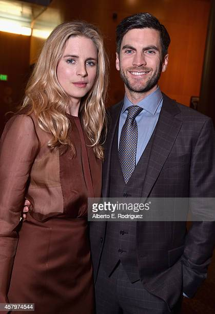 Actors Brit Marling and Wes Bentley attend the premiere of Amplify's 'The Better Angels' at DGA Theater on October 27 2014 in Los Angeles California