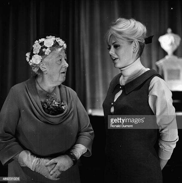 Actors Britt Ekland and Margaret Rutherford deep in conversation February 22nd 1964