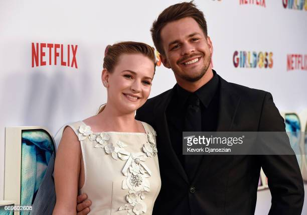 Actors Britt Robertson and Johnny Simmons attend the premiere of Netflix's 'Girlboss' at ArcLight Cinemas on April 17 2017 in Hollywood California