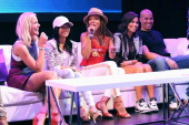 Actors Brittany Daniel Katlynn Simone Wendy Raquel Robinson Lauren London and Coby Bell speak onstage during Fan Fest BET and Centric Pavilion Day 1...