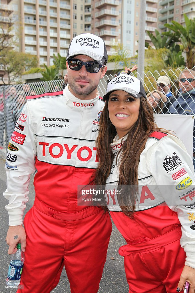 Actors Brody Jenner (L) and Jillian Barberie Reynolds (R) pose during the 36th Annual Toyota Pro/Celebrity Race - Press Practice Day of the Toyota Grand Prix of Long Beach on April 13, 2012 in Long Beach, California.