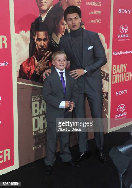 Actors Brogan Hall and Ansel Elgort arrive for the Premiere Of Sony Pictures' 'Baby Driver' held at Ace Hotel on June 14 2017 in Los Angeles...