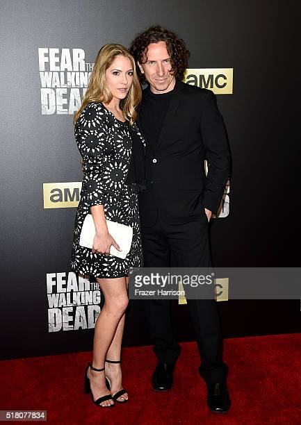 Actors Brooke Nevin and Michael Traynor attend the premiere of AMC's 'Fear The Walking Dead' Season 2 at Cinemark Playa Vista on March 29 2016 in Los...