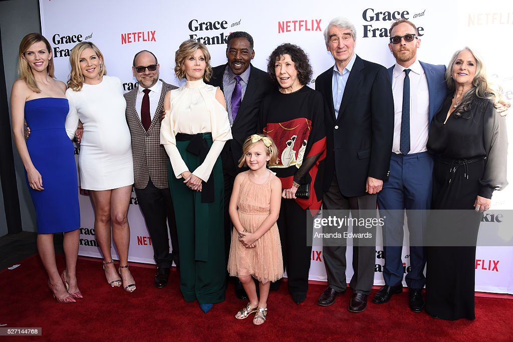 Actors Brooklyn Decker and June Diane Raphael, executive producer Howard J. Morris, actors Jane Fonda, Ernie Hudson, Willa Miel Pogue, Lily Tomlin, Sam Waterston and Ethan Embry and executive producer Marta Kauffman arrive at the Netflix Original Series 'Grace & Frankie' Season 2 premiere at the Harmony Gold Theater on May 1, 2016 in Los Angeles, California.