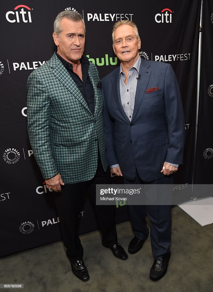 Actors Bruce Campbell (L) and Lee Majors arrive at The Paley Center for Media's 10th Annual PaleyFest Fall TV Previews honoring STARZ's Ash vs. Evil Dead at the Paley Center for Media on September 14, 2016 in Beverly Hills, California.