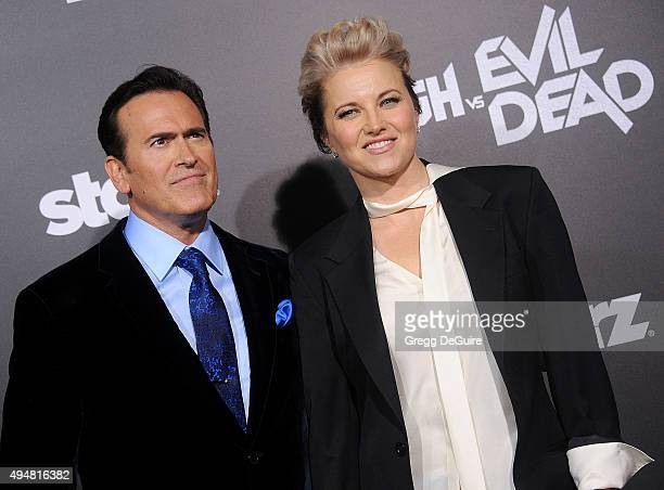 Actors Bruce Campbell and Lucy Lawless arrive at the premiere of STARZ's 'Ash Vs Evil Dead' at TCL Chinese Theatre on October 28 2015 in Hollywood...