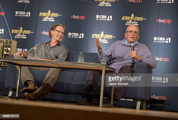 Actors Bruce Greenwood and Peter Weller speak during the Star Trek Mission New York event at Javits Center on September 3 2016 in New York City