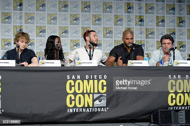 Actors Bruce Langley Yetide Badaki Pablo Schreiber Ricky Whittle and writer Neil Gaiman attend the 'American Gods' panel during ComicCon...
