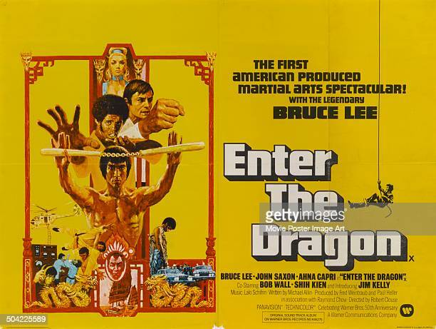 Actors Bruce Lee Jim Kelly John Saxon and Ahna Capri appear on a poster for the movie 'Enter the Dragon' 1973 Lee is wielding nunchaku