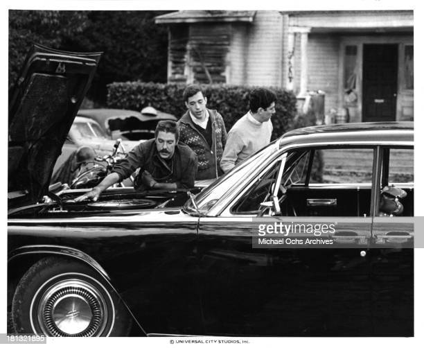 Actors Bruce McGill and Tom Hulce on the set of the Universal Studios movie 'Animal House' in 1978