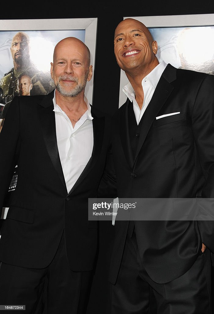 Actors <a gi-track='captionPersonalityLinkClicked' href=/galleries/search?phrase=Bruce+Willis&family=editorial&specificpeople=202185 ng-click='$event.stopPropagation()'>Bruce Willis</a> and <a gi-track='captionPersonalityLinkClicked' href=/galleries/search?phrase=Dwayne+Johnson&family=editorial&specificpeople=210704 ng-click='$event.stopPropagation()'>Dwayne Johnson</a> attend the premiere of Paramount Pictures' 'G.I. Joe:Retaliation' at TCL Chinese Theatre on March 28, 2013 in Hollywood, California.