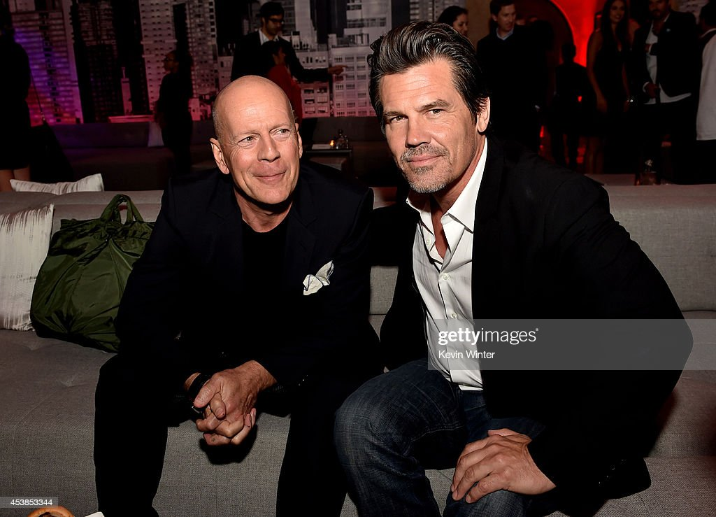 Actors <a gi-track='captionPersonalityLinkClicked' href=/galleries/search?phrase=Bruce+Willis&family=editorial&specificpeople=202185 ng-click='$event.stopPropagation()'>Bruce Willis</a> (L) and <a gi-track='captionPersonalityLinkClicked' href=/galleries/search?phrase=Josh+Brolin&family=editorial&specificpeople=243198 ng-click='$event.stopPropagation()'>Josh Brolin</a> pose at the after party for the premiere of Dimension Films' 'Sin City: A Dame To Kill For' at the Roosevelt Hotel on August 19, 2014 in Los Angeles, California.