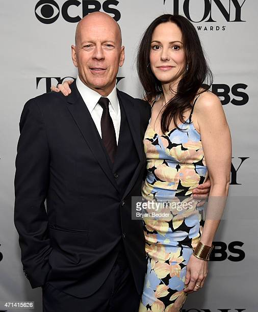 Actors Bruce Willis and MaryLouise Parker attend the 2015 Tony Awards Nominations Announcement at the Diamond Horseshoe at the Paramount Hotel on...