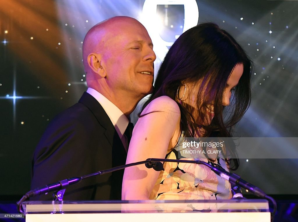 Actors Bruce Willis and MaryLouise Parker cohost the 2015 Tony Awards nominations announcement at the Diamond Horseshoe at the Paramount Hotel on...