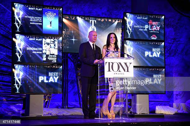 Actors Bruce Willis and MaryLouise Parker speak onstage at the 2015 Tony Awards Nominations Announcement at the Diamond Horseshoe at the Paramount...