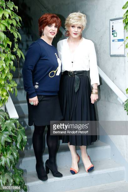 Actors Bruno Sanches and Alex Lutz aka 'Catherine et Liliane' attend the 2017 French Tennis Open Day Height at Roland Garros on June 4 2017 in Paris...