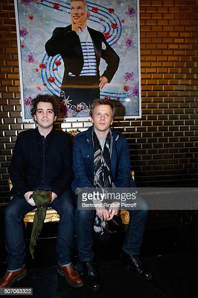 Actors Bruno Sanches and Alex Lutz from 'Catherine et Liliane' tv show attend the Jean Paul Gaultier Spring Summer 2016 show as part of Paris Fashion...